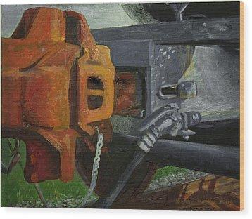 Coupler On Train Wood Print by Martha Ressler