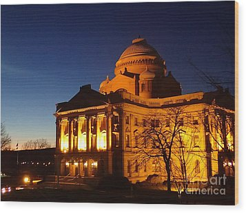 Courthouse At Night Wood Print