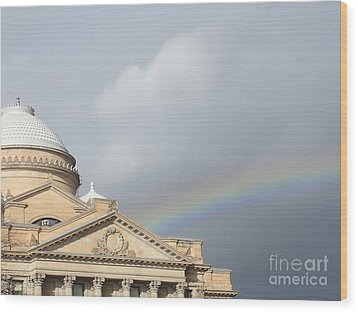 Courthouse Rainbow Wood Print by Christina Verdgeline