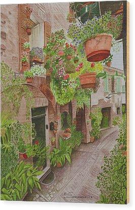 Courtyard Wood Print by C Wilton Simmons Jr