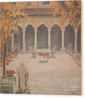 Wood Print featuring the painting Courtyard Of Stravopoleos Church by Olimpia - Hinamatsuri Barbu