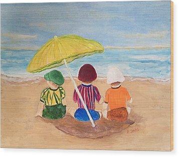 Cousins At The Beach Wood Print