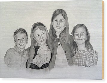 Wood Print featuring the drawing Cousins  by Lori Ippolito