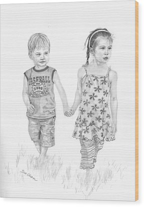 Cousins Wood Print by Sue Olson