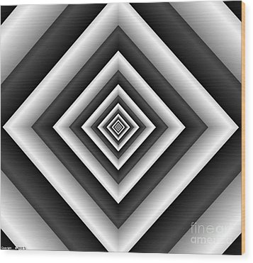 Covariance  6 Modern Geometric Black White Wood Print