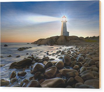 Cove Light Wood Print by James Charles