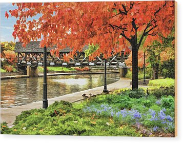 Wood Print featuring the painting Covered Bridge Along Riverwalk by Christopher Arndt