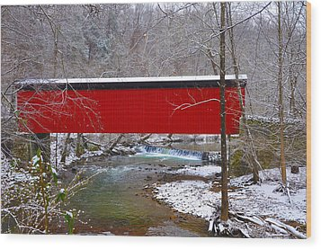 Covered Bridge Along The Wissahickon Creek Wood Print by Bill Cannon