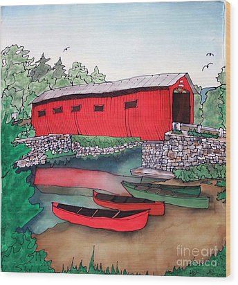 Covered Bridge And Canoes Wood Print by Linda Marcille