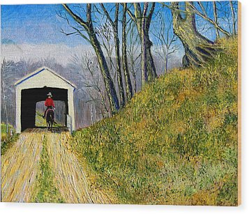 Covered Bridge And Cowboy Wood Print by Stan Hamilton