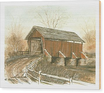 Covered Bridge Wood Print by Charles Roy Smith