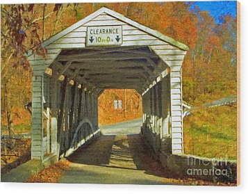 Wood Print featuring the photograph Covered Bridge Impasto Oil by David Zanzinger