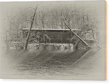 Covered Bridge In Black And White Wood Print by Bill Cannon