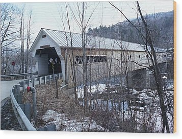 Covered Bridge In Southern Vermont Wood Print by John Power