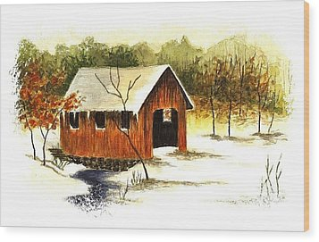 Covered Bridge In The Snow Wood Print by Michael Vigliotti
