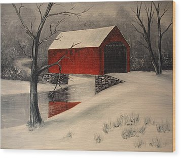 Covered Bridge In The Snow Wood Print by Rosie Phillips