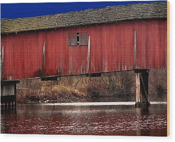 Covered Bridge Wood Print by Michael L Kimble