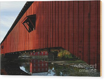 Covered Bridge Reflections Wood Print by Mel Steinhauer
