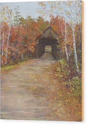 Wood Print featuring the painting Covered Bridge  Southern Nh by Jack Skinner