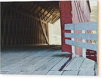 Covered Bridge, Winterset, Iowa Wood Print by Wilma Birdwell