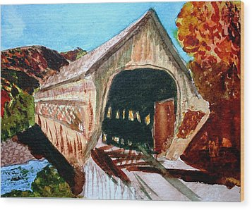 Wood Print featuring the painting Covered Bridge Woodstock Vt by Donna Walsh