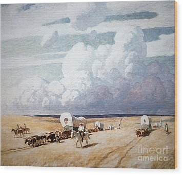 Covered Wagons Heading West Wood Print