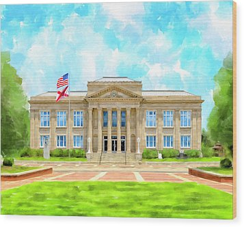 Wood Print featuring the mixed media Covington County Courthouse - Andalusia Alabama by Mark Tisdale