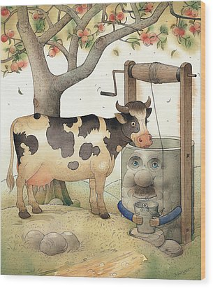 Cow And Well Wood Print by Kestutis Kasparavicius