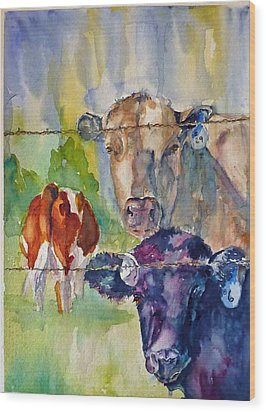 Wood Print featuring the painting Cow Bingo by P Maure Bausch