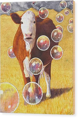 Cow Bubbles Wood Print by Catherine G McElroy