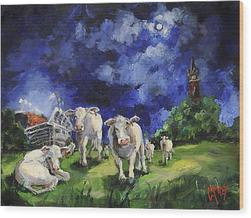 Cow College Auburn University Wood Print by Carole Foret