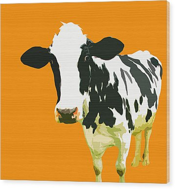 Cow In Orange World Wood Print by Peter Oconor