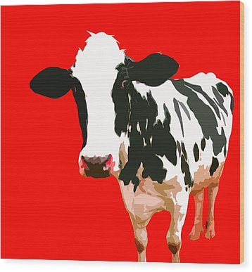 Cow In Red World Wood Print