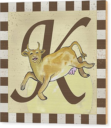 Cow Jump Over The Initialed Moon  Wood Print by Terri B Webb