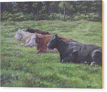 Wood Print featuring the painting Cow Line Up In Field by Martin Davey