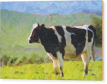 Cow On A Hill Wood Print by Wingsdomain Art and Photography