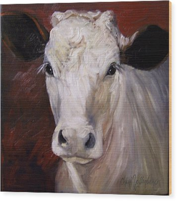 Cow Painting Of Charlene Wood Print by Cheri Wollenberg