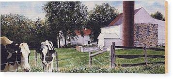 Cow Spotting Wood Print by Denny Bond