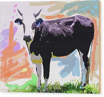 Cow Time Wood Print by David Lloyd Glover