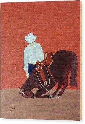 Cowboy And His Horse Wood Print