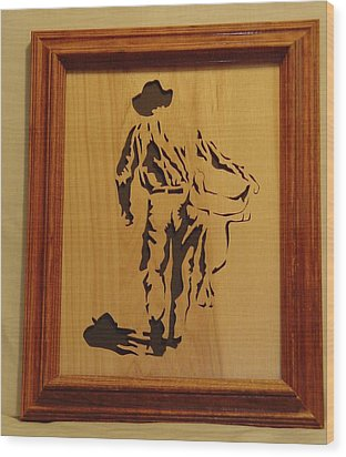 Cowboy And Saddle Wood Print by Russell Ellingsworth