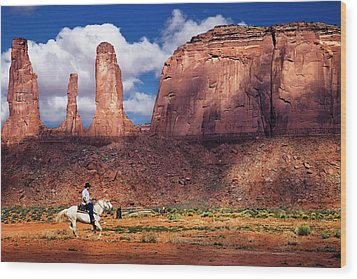 Wood Print featuring the photograph Cowboy And Three Sisters by William Lee