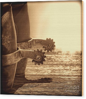 Cowboy Boots And Riding Spurs Wood Print