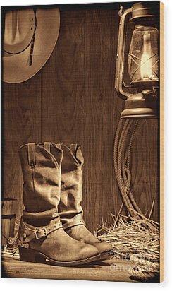 Cowboy Boots At The Ranch Wood Print
