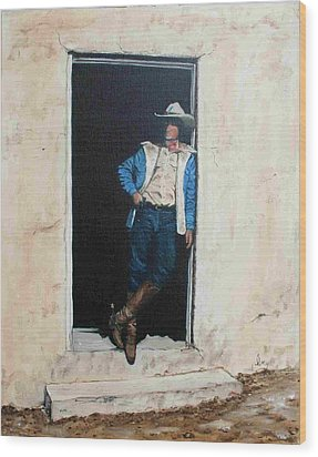 Wood Print featuring the painting Cowboy Cade by Mike Ivey