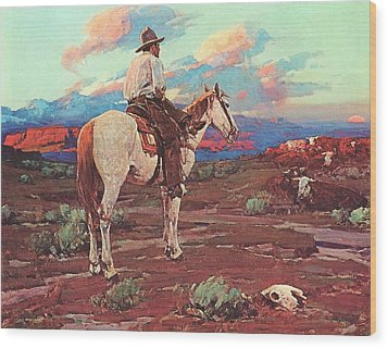 Cowboy Country Wood Print by Pg Reproductions
