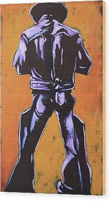Cowboy Drumroll In Purple Wood Print by Chris Riley