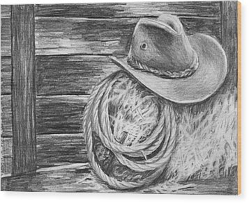 Cowboy Hat In A Barn Wood Print by Nolan Clark