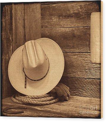 Cowboy Hat In Town Wood Print