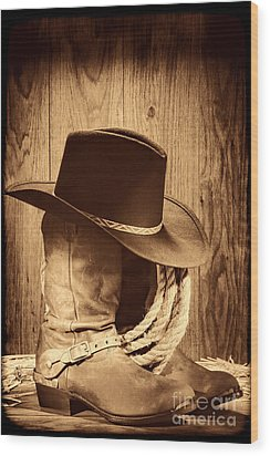 Cowboy Hat On Boots Wood Print
